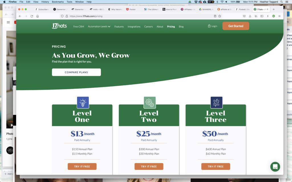 screen shot of 17 hats.com website for affiliate link