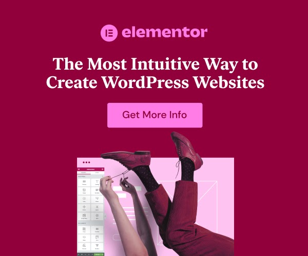Magenta square ad for Elementor.com with picture of legs of man and woman in the air